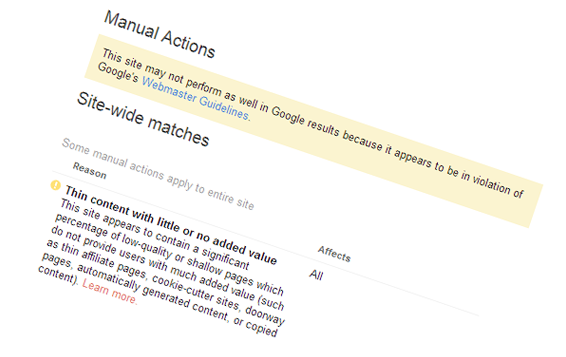Премахване на наказание в Google